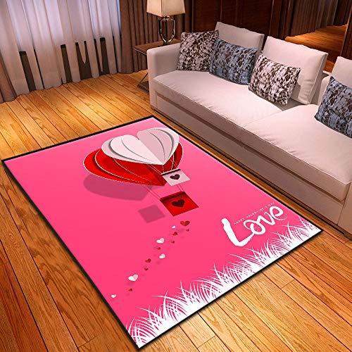 CQIIKJ Alfombra Estampada Tarjeta de felicitación de Amor Rojo Rosa Alfombra Antideslizante Alfombra Lavable 80 x 160 cm para la Entrada de casa, baño o Dormitorio Lavandería