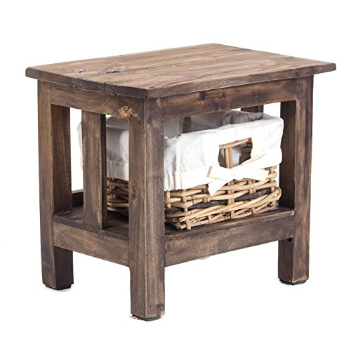 DESIGN DELIGHTS BEDSIDE TABLE RATTAN | 15.5x13.5x12, gerecycled hout | nachtkastje