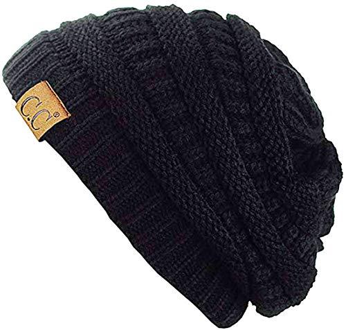C.C Thick Slouchy Knit Unisex Beanie Cap Hat,One Size,Black