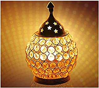 CRAFTSMAN Crafts'man Diwali Gift/Diwali Deepawali Decoration Akhand Diya Decorative Brass Crystal Oil Lamp Tea Light Holder Lantern Oval Shape | Puja Lamp (6 INCH).Indian Gift Items