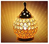 Craftsman Diwali Gift/Diwali Deepawali Decoration Akhand Diya Decorative Brass Crystal Oil Lamp Tea Light Holder Lantern Oval Shape | Puja Lamp (6 INCH).Indian Gift Items
