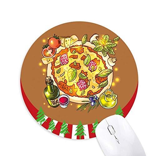 Gemüse Pizza Italien Lebensmittel Tee rund um Gummi Maus Pad Weihnachtsdekoration