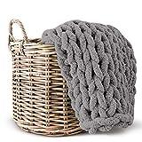 Lake Island Chunky Chenille Blanket NO Shedding Super Soft Handmade 50'x60' Luxurious Chunky Knit Throw for Bed or Sofa Large Chunky Knit Chenille Blanket Chunky Grey Blanket Chunky Blanket