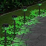 OOWOLF 4 Pack Luces Solares Exteriores, Impermeable IP65 Jardín Lámpara de Camino de Paisaje LED Luz Verde, Iluminación Decorativa Solar Para Porche Patio Césped Pasillo Terraza Camino