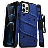 ZIZO Bolt Series for iPhone 12 Pro Max Case with Screen Protector Kickstand Holster Lanyard - Blue & Black