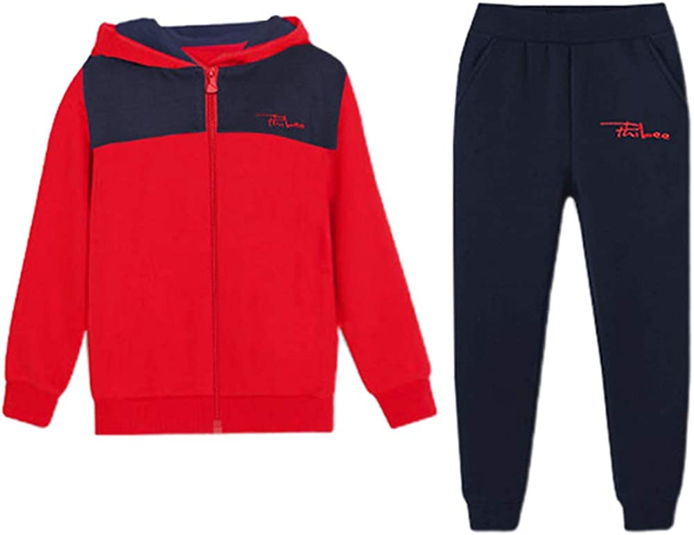 LittleSpring Little Boys Girls Athletic Tee and Long Set Spring Kids Track Suit 4-10T