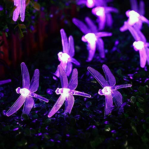 Solar Lights Outdoor, (40 LED 8 Modes) Solar Garden Lights, Dragonfly Solar String Lights, Waterproof for Christmas, Tree, Garden, Home, Wedding, Pathway, Party