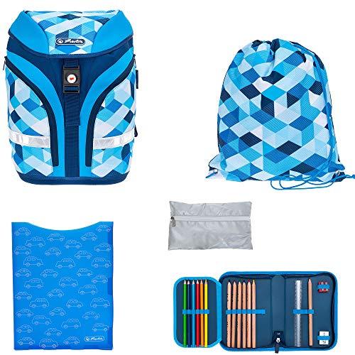5 Teile Schulrucksackset Herlitz Motion Plus Schulranzen Rucksack Jungen Mädchen + Regenhülle (Blue Cubes 393)
