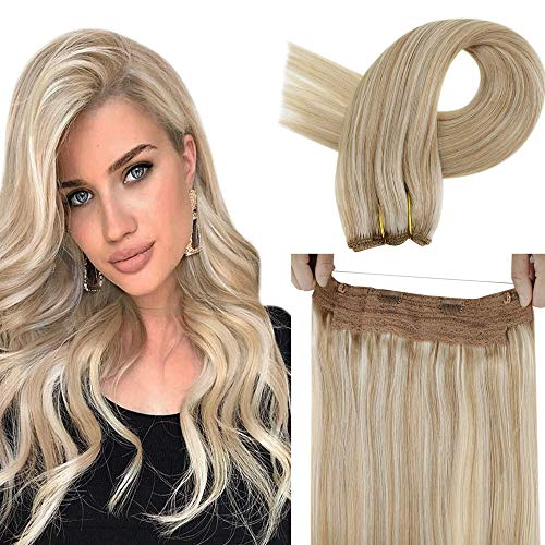 LaaVoo Halo Human Hair Extensions Highlighted Ash Blonde and Light Blonde Halo Couture Hair Extensions Thick Fish Line Halo Hair Extensions Blonde Straight Hair Halo Extensions Double Weft 16' 80g