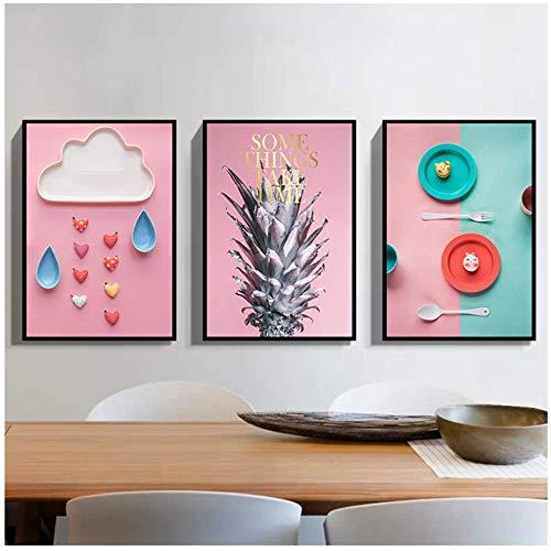Nordic Leinwand Malerei Wandkunst Poster Wohnkultur Bunte Geschirr Abstrakte Ananas Bild für Wohnzimmer 40x60 cm Mit rahmen Rosa