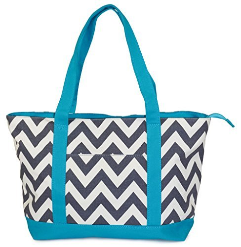 NEW! Zippered Pattern Prints X-Large Roomy Canvas Tote Bag