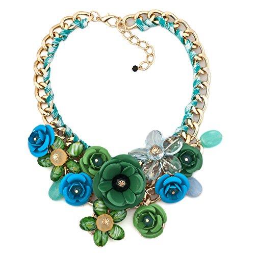 Korliya, collana a girocollo da donna, con grande fiore e base metal, colore: blu verde, cod. Korliya_KSEB_A42_NKE01