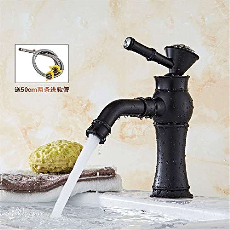 LHbox Bad Armatur in Bad für Waschbecken Waschtisch Wasserhahn Waschtischarmatur Schwarz Euro-Copper Antiken abgesenkt Waschtischmischer antiken Becken Serie L
