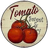 Alfombra Antideslizante Redonda Retro de Grano de Madera de Tomate, Alfombra de Dormitorio para niños, Alfombrilla para Sala de Estar, Alfombrilla para Silla de Ordenador, 120x120cm