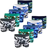 LOREZA Boxers pour garçon - en Coton - Motifs Camouflage - modèle 1 - Lot de 10-8-9 Ans