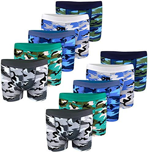 LOREZA ® 10er Set Jungen Baumwolle Boxershorts Camouflage (128-134 (8-9 Jahre), 10er Set)