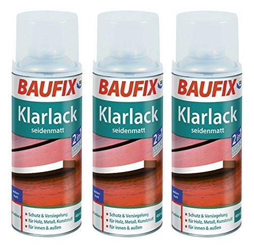 Baufix Lot de 3 bombes de vernis transparent 400 ml incolore en aérosol brillant ou satiné (satiné)