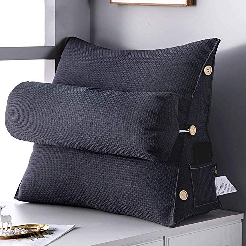 SZDL Adjustable Triangle Back Support Throw Pillow Soft Filled Wedge Cushion for Bed Chair Backrest with Pocket, Positioning Support Reading Pillow (Color : Black, Size : 45x50x22cm)