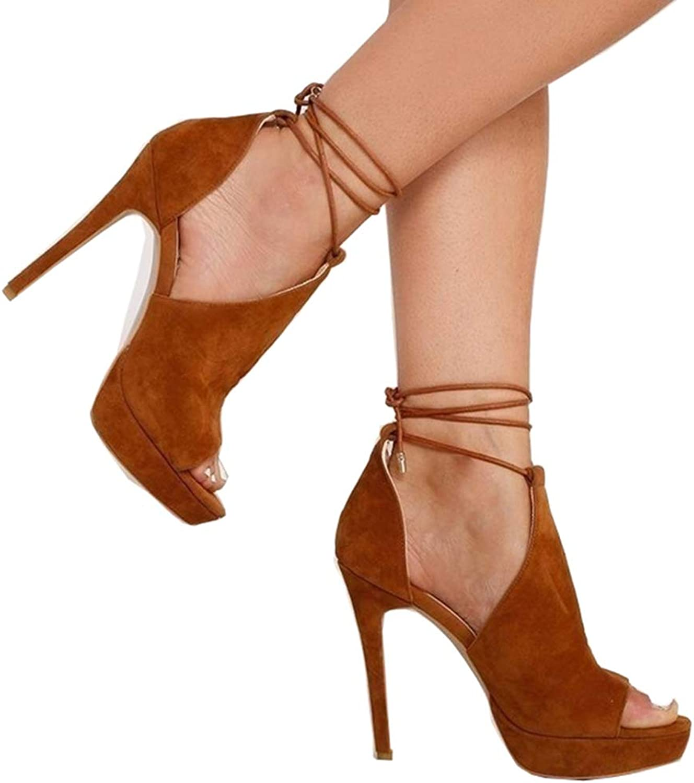 Remikstyt Womens Heels Sandals Strappy Platform Cutout Peep Toe Summer Sandals shoes