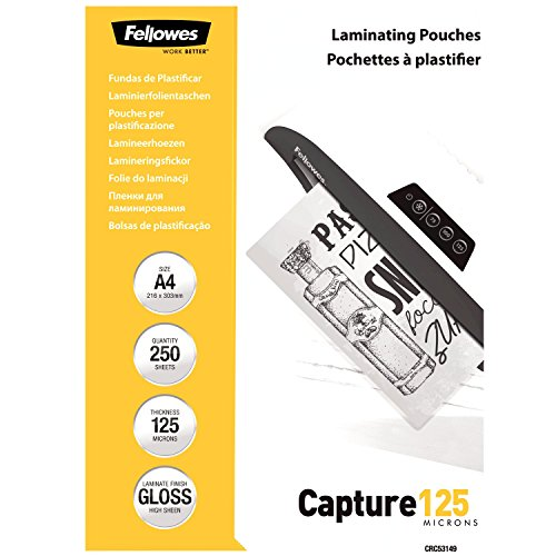 Fellowes CRC53149 A4 Laminierfolien (125 Mikron) im praktischen 250er Value Pack