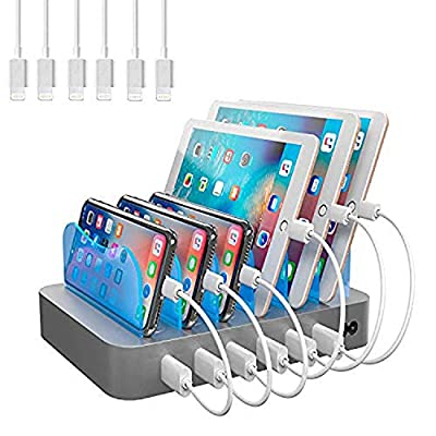 Hercules Tuff Charging Station for Multiple Devices (White) - 6 USB Fast Ports - 6 Short USB Lightning Cables Included for Cell Phones, Smart Phones, Tablets, and Other Electronics from hercules tuff
