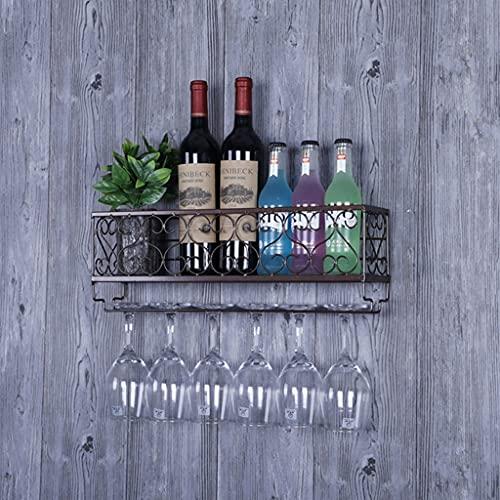 GHW Soporte de Copa, Copa de Vino y Soporte de Pantalla de Botella, Montaje en Pared de Hierro Forjado, 6 Botellas y Soporte de Vidrio de 6 Patas (Negro) (Color : Latón)