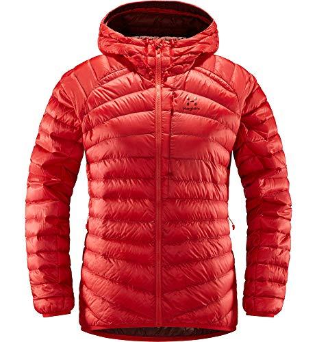 Haglöfs Daunenjacke Frauen Daunenjacke Essens Down Hood Wärmend, Atmungsaktiv, Wasserabweisend Hibiscus Red/Maroon Red S S