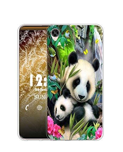 Sunrive Kompatibel mit Oppo R7s Hülle Silikon, Transparent Handyhülle Schutzhülle Etui Hülle (TPU Panda 5)+Gratis Universal Eingabestift MEHRWEG