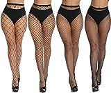 DRESHOW 4 Pares Mujeres Sexy Elástico Medias de Cintura Alta Medias de Rejilla de Calcetines Medias de Malla Pantimedias