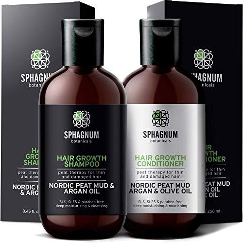 Shampoo- und Conditioner-Set für Haarwachstum - komplette natürliche Biotin und Argan-Öl Behandlung mit effektivem Torfschlamm für dünnes und strapaziertes Haar. Für Damen.