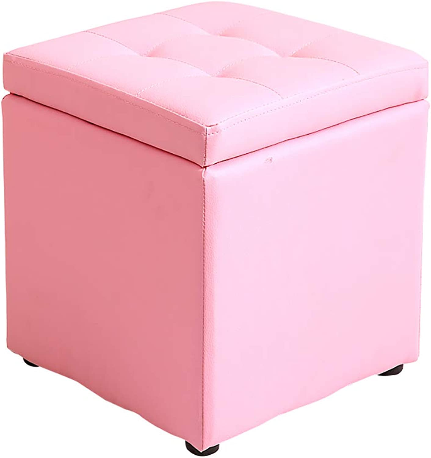 Footstool shoes Bench Sofa Stool Solid Wood Artificial Leather Breathable Storage Non-Slip Weight Bearing Strong 30  30  35cm (5 colors) (color   Pink)