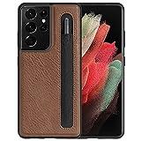 imluckies Funda de Cuero para Samsung Galaxy S21 Ultra 5G 6.8'' con Soporte para S Pen, PC Duro y Respaldo de Cuero Sintético y Marco de TPU, Ajuste Delgado y Protección, Marrón