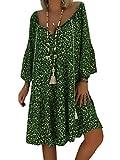 Shallood Vestido de Estampado Floral Boho con Cuello en V Sexy para Mujer Vestido de Fiesta Corto de Noche de Otoño Vintage en la Playa Verano B Verde ES 50