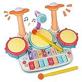 Rabing Kindertrommel Set, Baby Musical Trommel & Klavier Toy, Musik Schlagzeug mit Blinkenden...