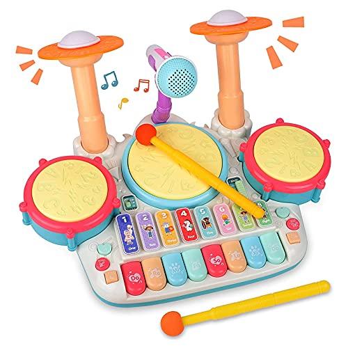 Rabing Tamburi e Percussioni per Bambini - 5 in 1 Batteria Giocattolo per Strumenti Musicali...