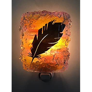 Sunset Feather Recycled Glass Night Light by Reborn Glass Nightlight, Nitelite, Nite Lite