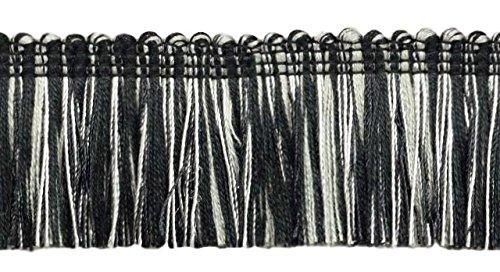 4.6 Meter Value Pack of Brush Fringe Trim 45mm Style#: 0175HB Color: SGB (Black Silver Grey)
