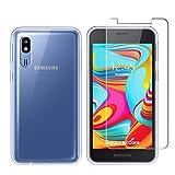 LJSM Funda para Samsung Galaxy A2 Core Transparent + Protector de Pantalla Cristal Templado Film Película Protectora - Carcasa Silicona TPU Suave Caso Case para Samsung Galaxy A2 Core (5.0') -Clear