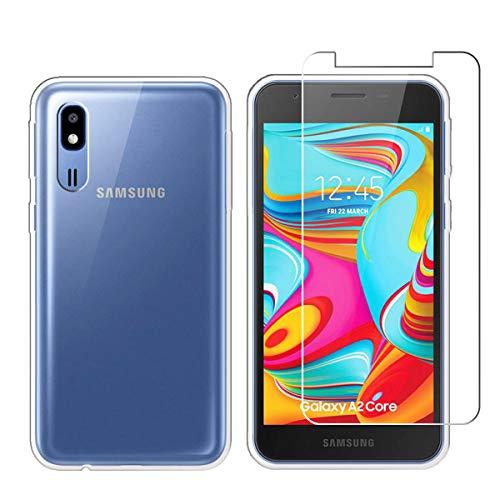 LJSM Hülle für Samsung Galaxy A2 Core Transparent + Panzerglas Displayschutzfolie Schutzfolie - Weich Silikon Schutzhülle Crystal Flexibel TPU Tasche Case für Samsung Galaxy A2 Core (5.0