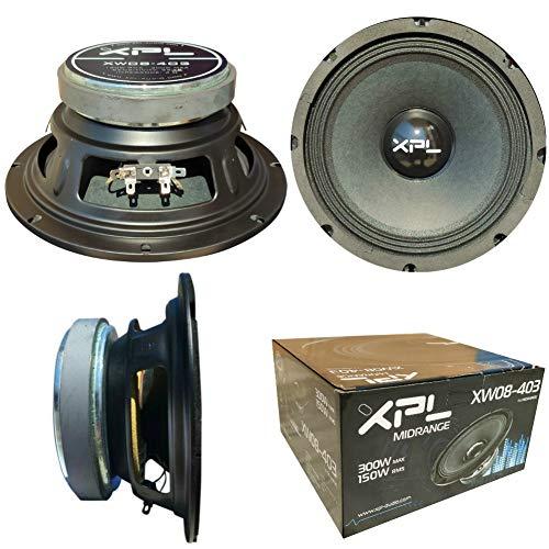 1 XPL XW08-403 XW08 403 midrange Altavoz Mid Bass 20,00 cm 200 mm 8' 150 vatios rms 300 vatios máx impedancia 4 ohmios 99 db spl Coche Negro, 1 Pieza