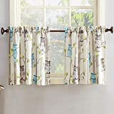 No. 918 45084 Hoot Owl Print Kitchen Curtain Tier Pair, 56' x 24', Mocha Brown