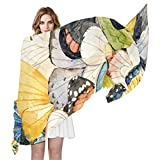 AUUXVA MAHU Scarf Watercolor Animal Butterfly Wings Fashion Lightweight Sheer Shawl Wrap Long Muffler for Women, Color3, 70.86(L)x35.4(W) in