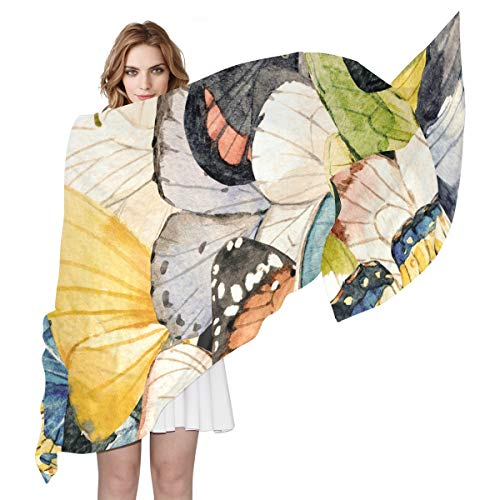 MAHU Silk Scarf Watercolor Animal Butterfly Wings Fashion Lightweight Sheer Shawl Wrap Long Muffler for Women