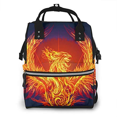 GXGZ Reborn Fire Phoenixes Mochila para pañales para bebés/Bolsa de pañales impermeable multifunción para mamá/Tela Oxford duradera Bolsas de viaje grandes para bebés con bolsillos