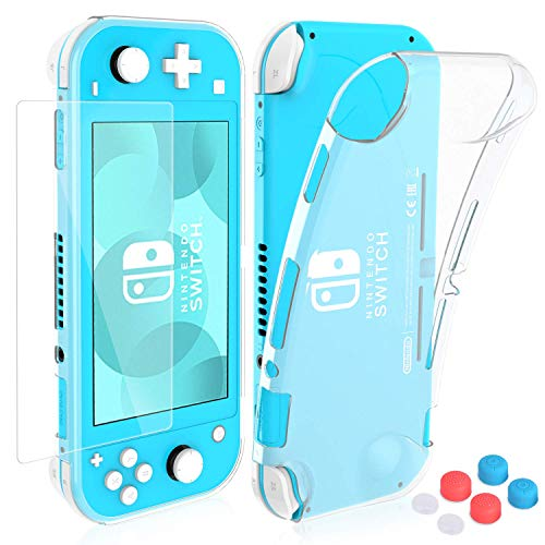 HEYSTOP Coque pour Nintendo Switch Lite, Étui Nintendo Switch Lite avec Protection Écran Verre Trempé avec 6 Poignées Couvre Pouce Absorption des Chocs et Anti-Rayures