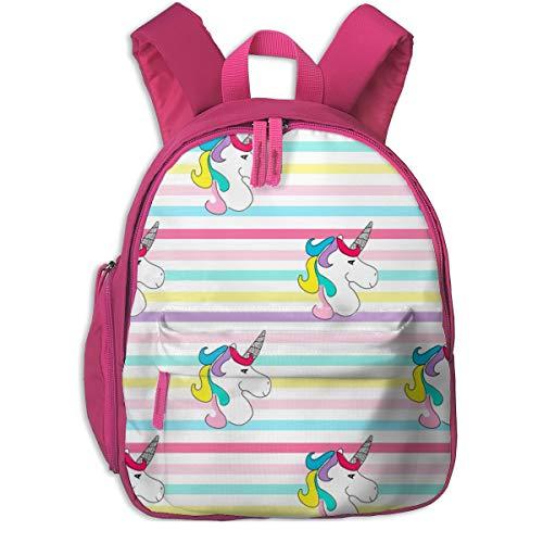 Kinderrucksack für Mädchen, Unicorn On Rainbow Stripes_4757 - ajoyfulriot, Für Kinderschulen Oxfordstoff (pink)