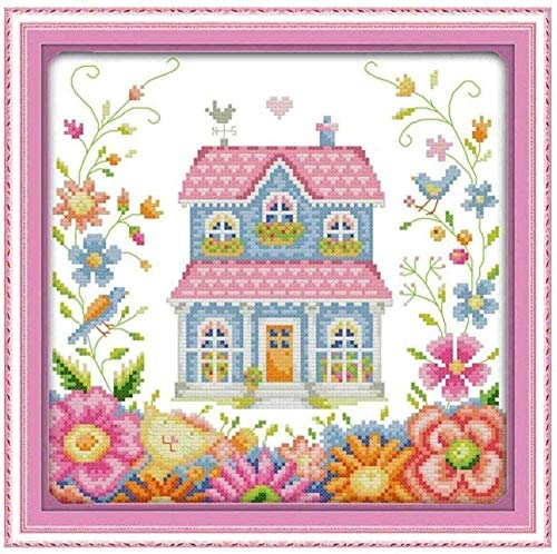 Cross Stitch Kits Adults for Beginners-Garden shed,DIY Cross Stitch Kits,Stitch Supplies Needlework, Art Embroidery for Home Decoration,40x50cm (11CT Pre Printed Canvas)