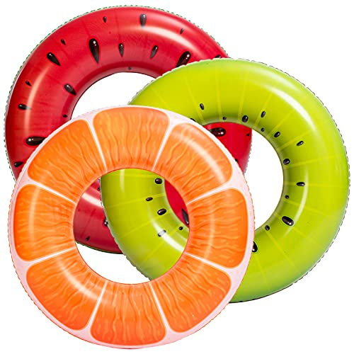 JOYIN Flotadores Anillos Inflables de Piscina de Fruta 82.5cm (3 Piezas), Juguetes Divertidos para Niños, Adultos, Playa, Piscina
