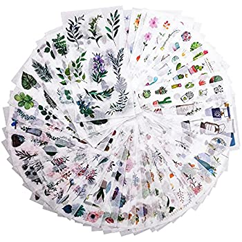 48 Sheets 860 Non-Repeating Watercolor Green Plant Scrapbook Sticker Set Scrapbooking Washi Planner Sticker Self Adhesive Decorative Sticker for DIY Laptop Journaling Diary Album Art Craft