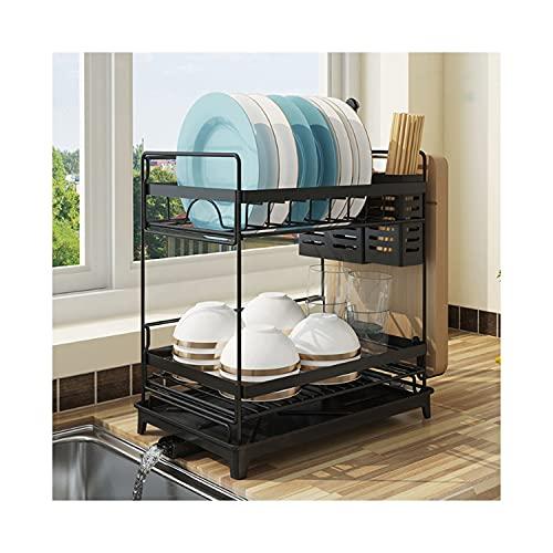 SPEEDY 水切りラック 水切りかご 食器棚 キッチン用品 皿立てラック コップ立てラック 取り付け簡単 省スペース 2段 (ブラック, 2段)
